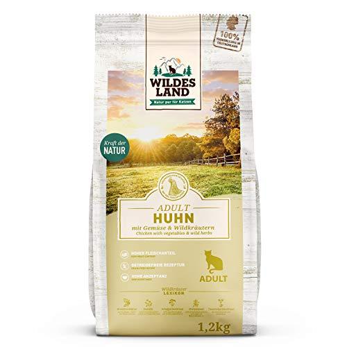 Wildes Land | 1,2 kg | Trockenfutter für Katzen | Huhn | Getreidefreie Rezeptur | Hoher Fleischanteil | In Deutschland zubereitet | Hoher Eiweißanteil | Natürliche Zutaten