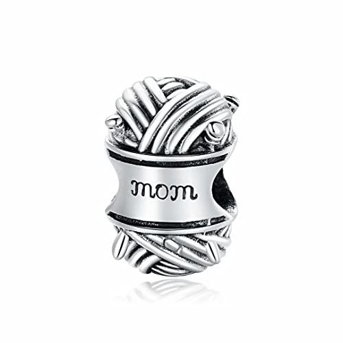 Presentski Breloque Pelote de Laine Charme Argent Sterling 925 Compatible Avec les Bracelets Collier Femme Charm Tricoter pour Mère