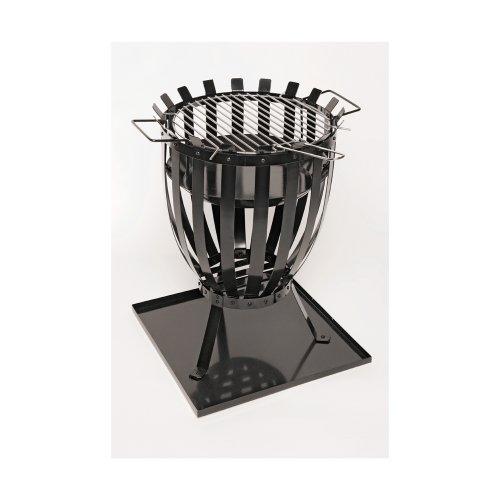 Landmann Feuerkorb mit Grilleinsatz - schwarz - inkl. 4 Schaschliknadeln, Feuerschale Feuergrill Grill Grillkorb