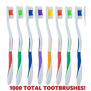 Bulk Individually Wrapped Standard Medium Bristle Toothbrushes for Travel Hotel Guests Disposable use and More  1000 Pack