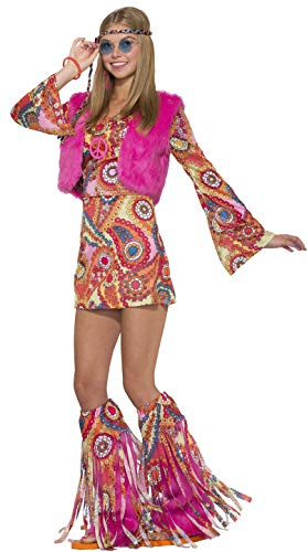Forum Novelties 77053 hippy pelliccia rever Groovy costume (UK 10 – 12)