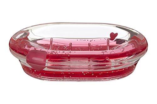 Premier Housewares Seifenschale mit schwimmenden Herzen, Acryl, transparent/rot, 10x 14x 3cm