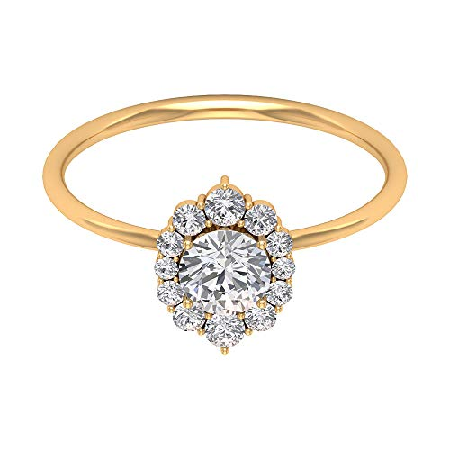 1/2 Ct Moissanite Solitaire Ring, Vintage Engagement Ring, Diamond Halo Ring, Solid Gold Wedding Ring, Bridal Statement Ring, Cocktail Partywear Ring, 18K Yellow Gold, Size:UK Z+1