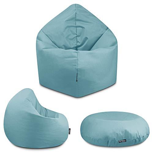 2in1 Sitzsack Bodenkissen Outdoor Sitzsäcke Indoor Beanbag in 32 Farben & 3 Größen wählbar Sitzkissen Kinder Yoga Kissen Erwachsene Schule Kindergarten (Hellblau-100 cm)