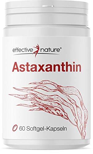 effective nature - Astaxanthin - Mit Vitamin C und E - 100{85095ed6f5e711ade408c3e91d61606eabf6a0bab42a639b733f3322fdb6ab45} natürlicher Ursprung - 8 mg Astaxanthin pro Tag - 60 Kapseln