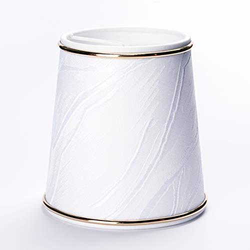 Abat-jour à clipser pour lustre - Anneau doré crème - Décor blanc