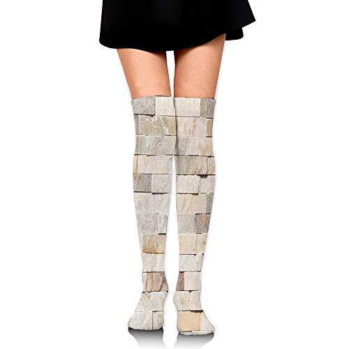 Hxincyu Compression Socks for Women Men,Urban Brick Wall Backgro& Modern and Stylized Kitsch City Life Surface Print,Over Knee Socks Thigh-High Long Stockings,65cm Long Socks