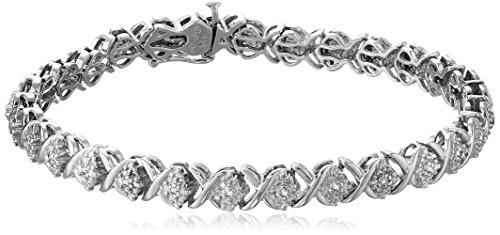 Sterling Silver Diamond X-Link Bracelet (1/10 cttw, I-J Color, I2-I3 Clarity), 7.25""