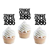 24Pcs Black Glitter Straight Outta 1986 Cupcake Topper, Happy 35th Birthday Cupcake Topper, Cool 35 Years Old Birthday Party Decoration
