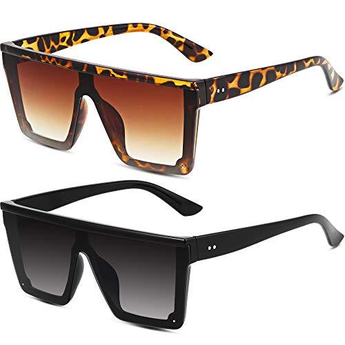 2 Paia Occhiali da Sole Oversize Cima Piatta di Moda Occhiali da Sole con Lenti Siamesi Occhiali da Sole Quadrati Unisex Tonalità per Uomo Donna (Nero, Marrone)
