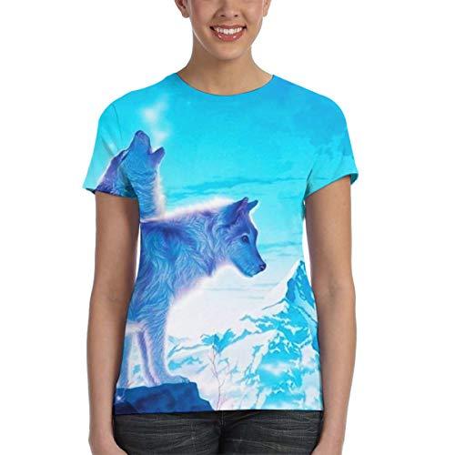 U are Friends Wolf Tee-Shirt Tee-Shirt Sport Summer Femme(XXL,Noir)