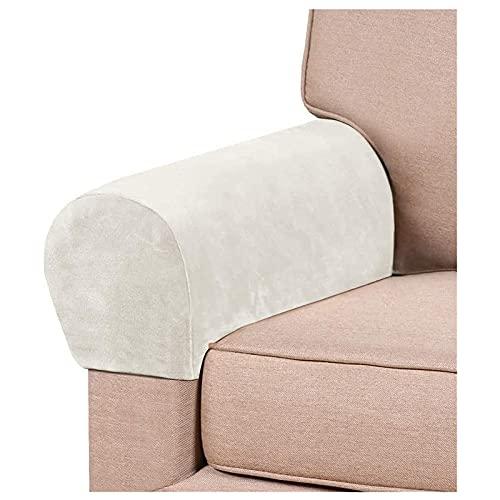 RRNAR Funda Antideslizante para el Estiramiento del apoyabrazos, sofá reposabrazos Protector para sillón reclinable Sofá para Protector de Muebles,Marfil,Set of 6