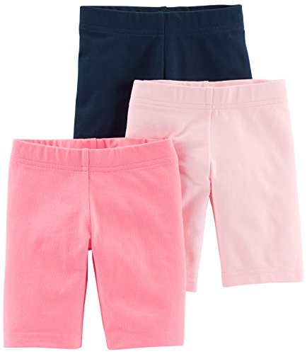 Simple Joys by Carter's - Pantalones cortos para bicicleta (3 unidades) ,Pink, Navy ,4T