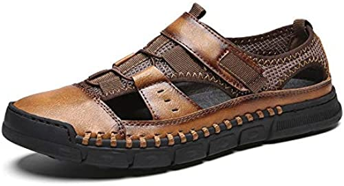 TXHLKD Nouveau Hommes Sandales en Cuir Véritable Cuir de Vachette Hommes Sandales D'été Qualité Chaussons De Plage paniers Décontracté Chaussures De Plage en Plein Air