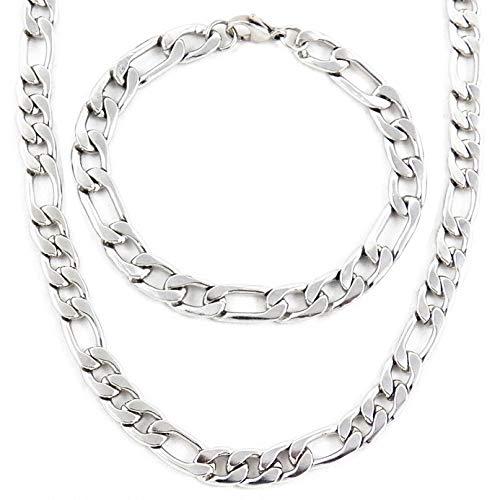 AKIEE Conjunto Collar y Pulsera para Hombre De Acero Inoxidable Cadena Figaro (PLATA M2 : 45 CM + 20, 45)