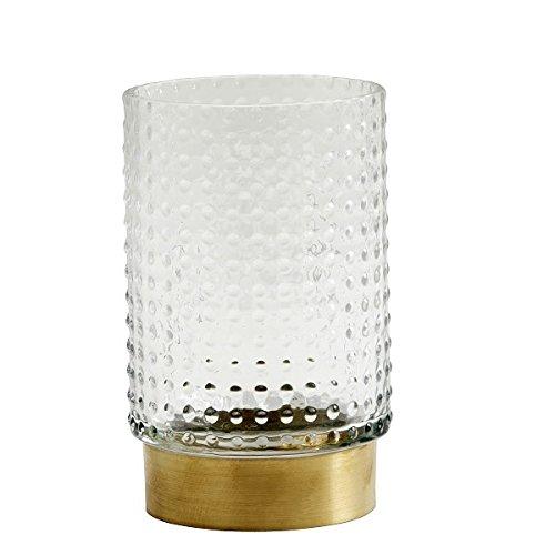 Nordal transparante glazen ring vaas met messing bodem Deens ontwerp