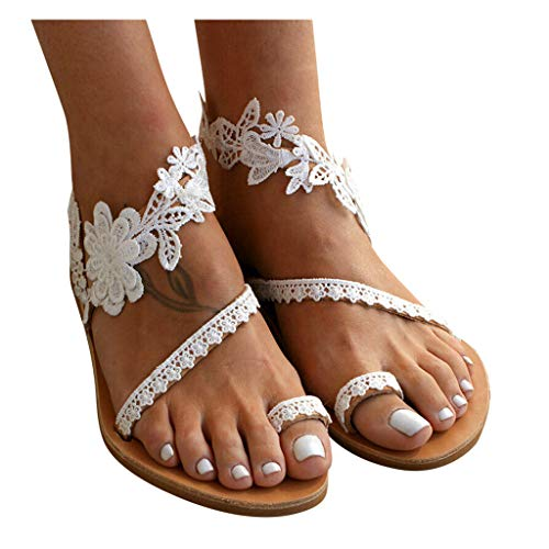 Women's Sandals Flat Clip Toe Lace Floral Cute Flip Flop Beach Slip On Roman Sandal Shoes (White, US:9.5-10)