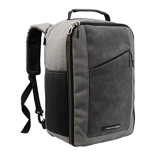 Cabine Max Manhattan Handbagage tas|Ryanair Handbagage 40x20x25 | Laptop tas Rugzak | Handbagage rugtas | Reistas | Lichtgewicht Handbagage | Reistas handbagage (Grijs)