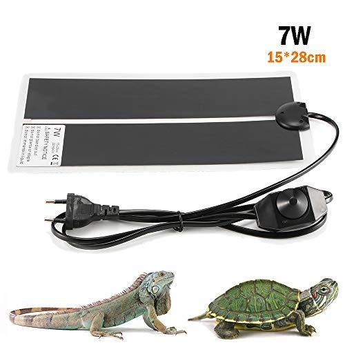 ALLOMN Reptilien Heizkissenmatte, Einstellbare Reptilien Tankwärmematte Wärmekissen Thermostat für Haustiere mit Temperaturregler 0-35 Grad, für Turtle Snakes Lizard Gecko Spinne (7W 15×28cm)