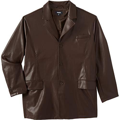 KingSize Men's Big & Tall Three-Button Faux Leather Blazer - Big - 6XL, Brown