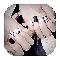 24個の短い偽爪ホワイトグリッドデザインキラキラ毎日指の爪人工ハイブリッドネイルフルカバーのヒント、ショーとして