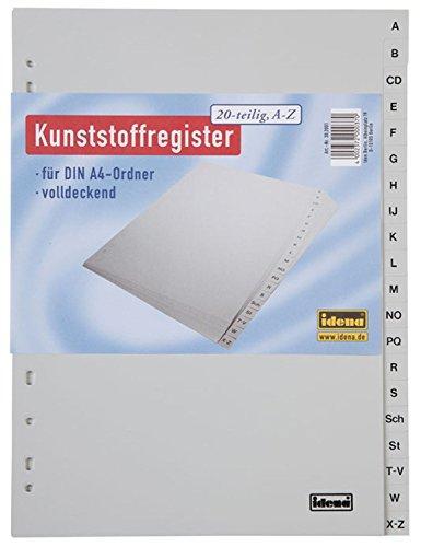 Idena 302001 - Register A - Z, für DIN A4, aus Kunststoff, 20-teilig, volldeckend, grau, 1 Stück