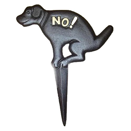 Marshall Home and Garden CHIBP2974-15 Pit Bull No Pooping Naughty Dog Black Yard Sign, Cast Iron
