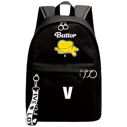 Mochila Kpop Single Song Butter, utilizada para soporte JUNG KOOK V JIN Band Fans Gift College Bag School Bag Laptop Bag