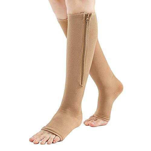 MonLiya Medias de compresión por debajo de las rodillas, con cremallera, con puntera abierta, tamaño L, 23-32 mm Hg