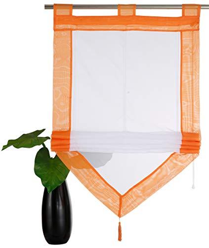 YouFia Scheibengardine Raffrollos mit Quaste Voile Transparent Dreieck Dekoschals Rollos Schlaufen Gardine BxH 80x140cm,Orange