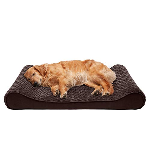 Furhaven Pet Dog Bed - Orthopedic Ultra Plush Faux Fur Ergonomic Luxe Lounger Cradle Mattress Contour Pet Bed with Removable Cover for Dogs and Cats, Chocolate, Jumbo