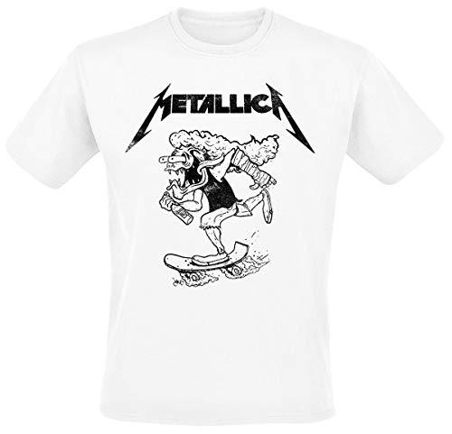 Metallica Hetfield Skates Hombre Camiseta Blanco M, 100% algodón, Regular