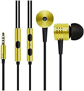 MAELINE Earphones Headphones, Powerful Bass Driven Sound, Large Drivers, Ergonomic Design with Remote Control and Microphone (Yellow)