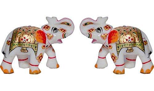 The Hue Cottage Elefanten Paar Decorative Figur meenakari Kundan Arbeit Multicolour Marmorstatue Indian Handgemachtes Geschenk Artikel Dekor