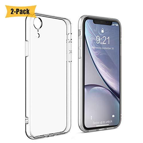 iLiebe Lot de 2 coques de protection ultra fines pour iPhone XR avec chargement sans fil et coque en TPU souple et anti-traces de doigts Transparent