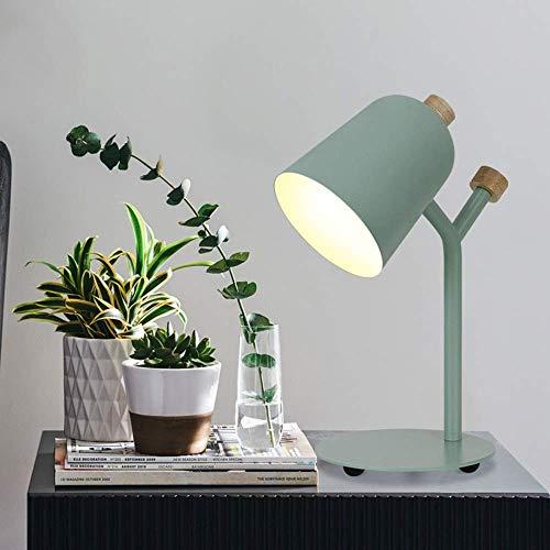 VIWIV Lámpara de escritorio simple moderno metal hierro forjado luz decorativa macaron lámpara de mesa lámpara botón interruptor verde noche dormitorio estudio oficina