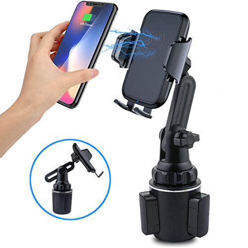 Car Wireless Charger Phone Mount, Universal Cup Holder Phone Mount Qi Charger Fast Wireless Charging Car Cup Phone Holder for iPhone, Samsung, Moto, Huawei, Nokia, LG, Smart-Phones