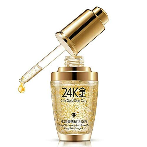 Golden Face Essence, Pure 24K Gold Essence Protein Skin Facial Moisturizing Hyaluronic Acid Anti-aging Mask