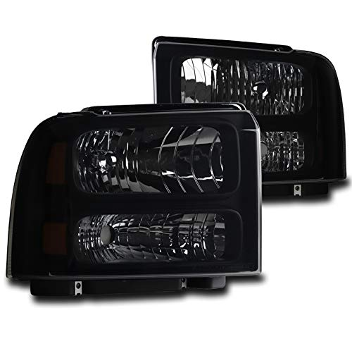 ZMAUTOPARTS Replacement Black/Smoke Headlights Headlamps For 1999-2004 Ford F-250 / F-350 / F-450 / F-550 Super Duty