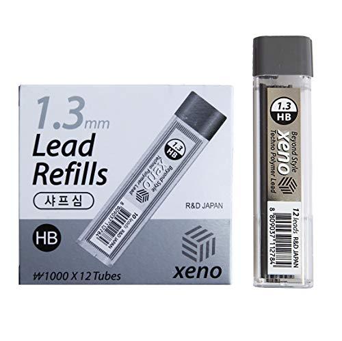 Xeno Beyond Style - Matita tagliente meccanica con mine HB (0,3/0,5/0,7/0,9/1,3 mm) (0,9 mm (12 tubi)