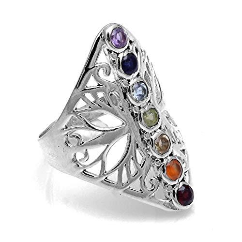 Silver Palace Anillo de Plata esterlina 925 Chakra curativo Tamaño de joyería 6 a 10