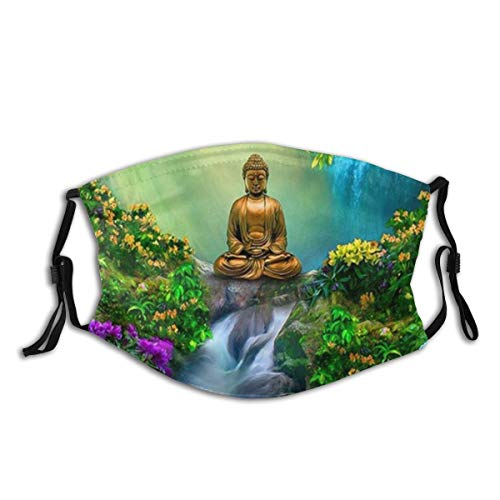 GUKISALA Buddha Art Dust Washable Reusable Filter and Reusable Mouth Warm Windproof Cotton Face