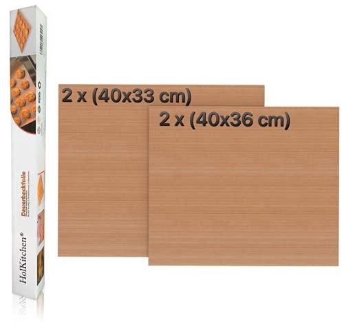 Juego de papel de horno reutilizable, lámina de horno para horno, forma de caja, lámina de horno redonda, juego de 4 (2 x 40 x 33 cm, 2 x 40 x 36 cm)