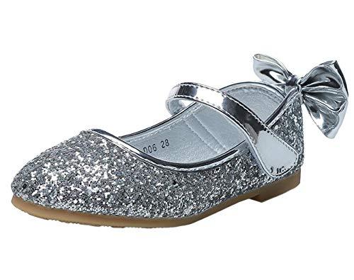 PPXID Girls' Closed-Toe Ballet Flats Mary Jane Sparkly Glitter Wedding Dress Shoe 13 UK Child Silver