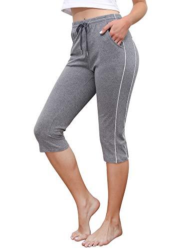 Doaraha 3/4 Pantalones Deporte para Mujer Pantalones Piratas Casual Pantalón Capri Chandal...