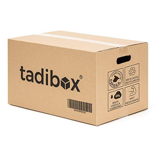 Tadibox M - 12 Cajas de cartón para mudanza y almacenaje con asas - Fabricadas en España - 44x30x25cm - Resistente gramaje 450g/m2 - Eco box