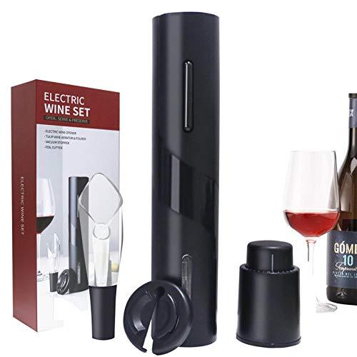 Tire-bouchon électrique, décapsuleur électrique, décapsuleur avec bouchon sous vide, bouchon à vin, coupe-capsule, bec verseur pour les fêtes (4 en 1)