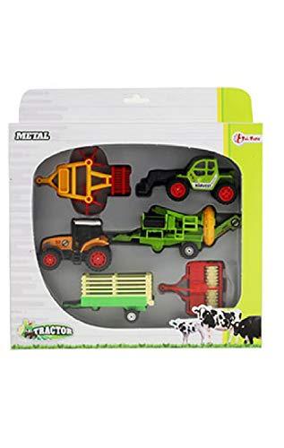 Toi-Toys 28091Z - Juego de 6 máquinas agrícolas para tractor, cortacésped, granja, jero, chica, niños