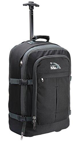 Cabin Max Malmo Flugzugelassenes Handgepäck Rucksack Tasche - 44L Mehfunktional Rollengepäck (Black/Grey)