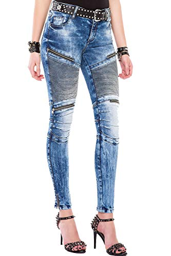Cipo & Baxx Damen Skinny Jeans 5 Pocket Look High Rise Biker Denim Jeanshose mit Zippern Blau W27 L32